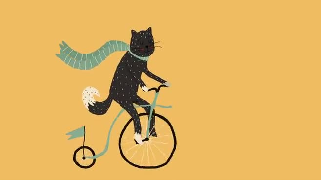 Mrs. Cat On Her Bicycle