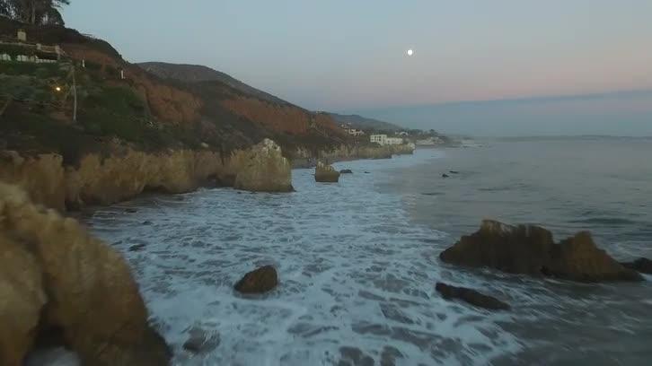 Drone Shot of California Coast (Evening)