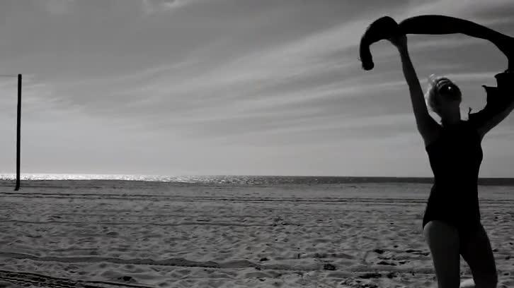 Beach, Girl (stock footage)