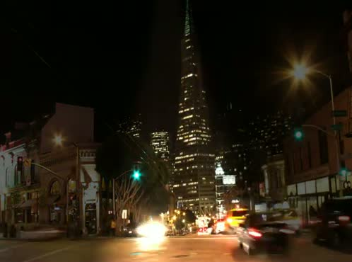 Time Lapse Video Vibrant City Intersection @ night