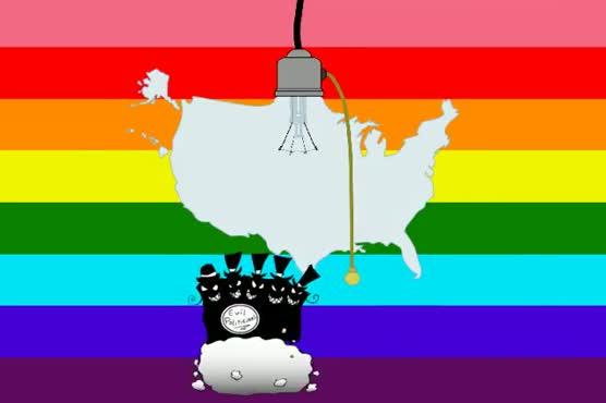 Shot 4 - Evil horde turning off America shaped light bulb